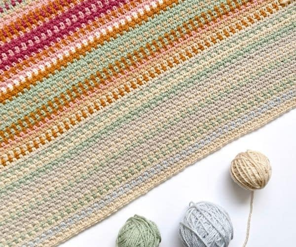 Moss Stitch Temperature Blanket